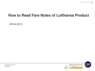 How to Read Fare Notes  of Lufthansa Product