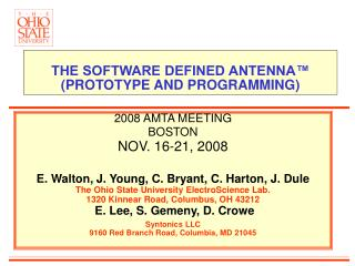 THE SOFTWARE DEFINED ANTENNA™  (PROTOTYPE AND PROGRAMMING)