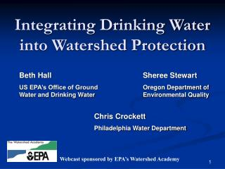 Integrating Drinking Water into Watershed Protection