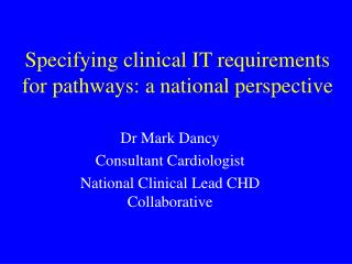 Specifying clinical IT requirements for pathways: a national perspective