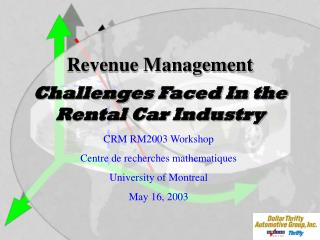 Challenges Faced In the  Rental Car Industry