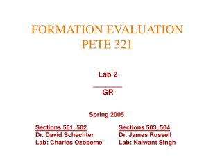 FORMATION EVALUATION PETE 321