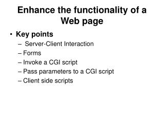 Enhance the functionality of a Web page