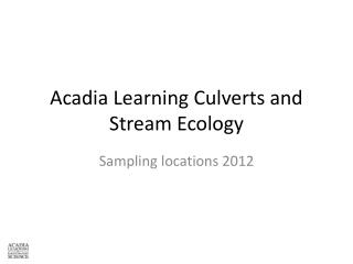 Acadia Learning Culverts and Stream Ecology