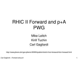 RHIC II Forward and p+A PWG