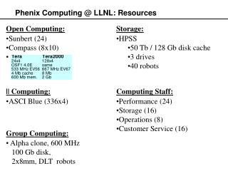Phenix Computing @ LLNL: Resources