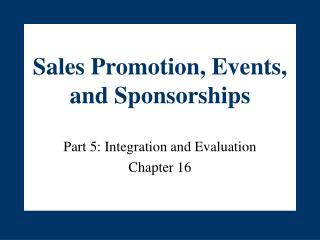 Sales Promotion, Events, and Sponsorships