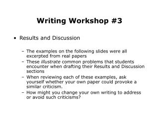 Writing Workshop #3