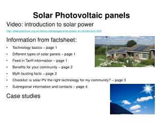 Solar Photovoltaic panels