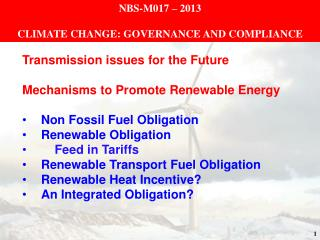 NBS-M017 – 2013 CLIMATE CHANGE: GOVERNANCE AND COMPLIANCE