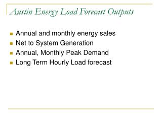 Austin Energy Load Forecast Outputs