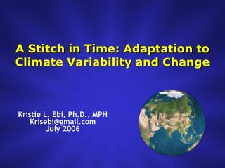 A Stitch in Time: Adaptation to Climate Variability and Change