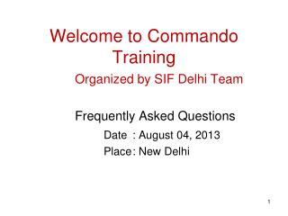 Welcome to Commando Training