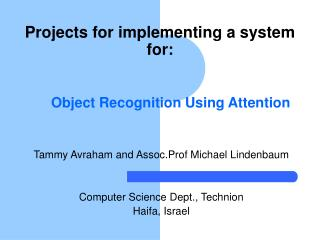 Object Recognition Using Attention
