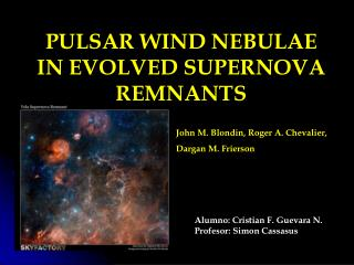 PULSAR WIND NEBULAE IN EVOLVED SUPERNOVA REMNANTS 				  John M. Blondin, Roger A. Chevalier,