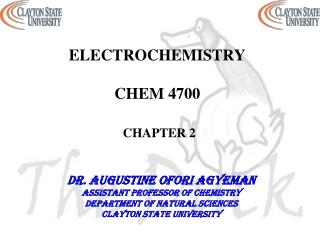 ELECTROCHEMISTRY CHEM 4700 CHAPTER  2
