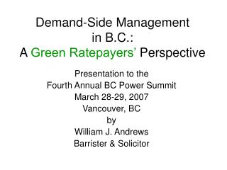 Demand-Side Management in B.C.: A  Green Ratepayers'  Perspective