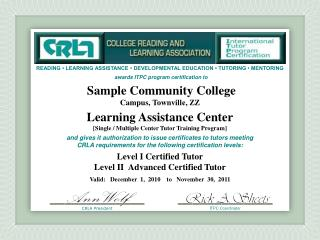 Sample Community College Campus, Townville ,  ZZ Learning Assistance Center
