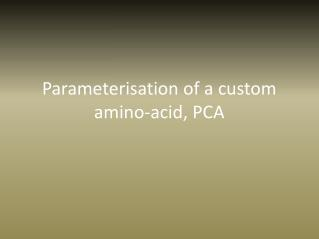 Parameterisation of a custom amino-acid, PCA