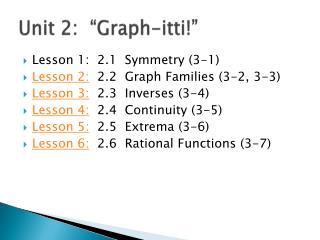 "Unit 2:  ""Graph- itti !"""
