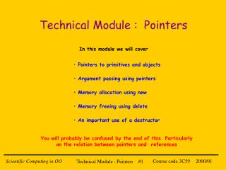Technical Module :  Pointers
