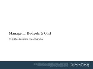 Manage IT Budgets & Cost