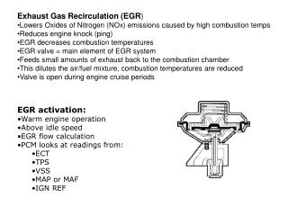 Exhaust Gas Recirculation (EGR ) Lowers Oxides of Nitrogen (NO x) emissions caused by high combustion temps Reduces engi