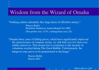 Wisdom from the Wizard of Omaha