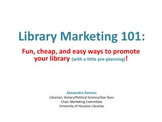 Library Marketing 101: