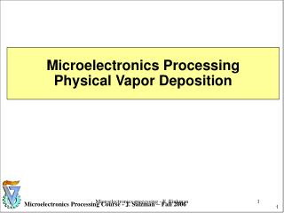 Microelectronics Processing Physical Vapor Deposition