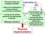 Clarifying what Functionalism is