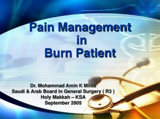 Pain Management  in  Burn Patient