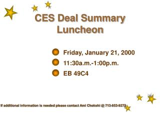 CES Deal Summary Luncheon