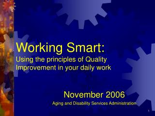 Working Smart:  Using the principles of Quality Improvement in your daily work