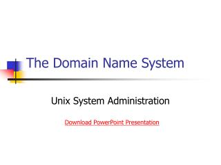 The Domain Name System