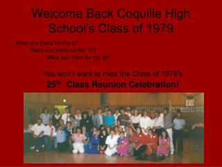Welcome Back Coquille High School's Class of 1979