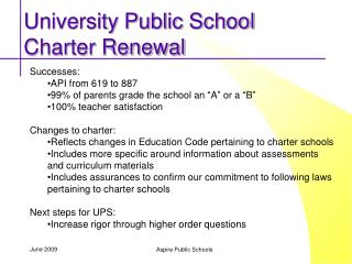University Public School Charter Renewal