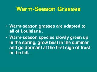 Warm-Season Grasses