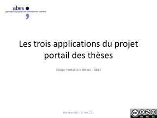 Les trois applications du projet portail des thèses