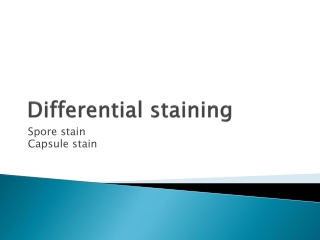 Spore Staining  Differential staining procedure