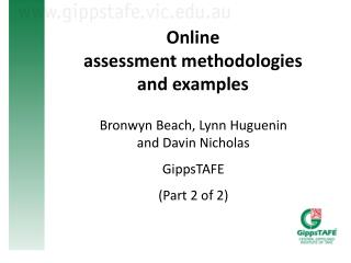 Online  assessment  methodologies  and examples