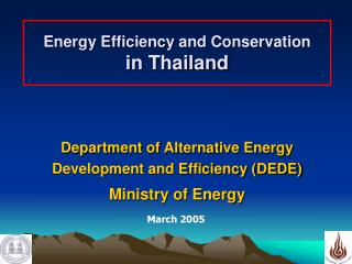 Energy Efficiency and Conservation  in Thailand