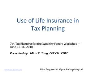 Use of Life Insurance in  Tax Planning