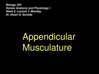 Biology 223 Human Anatomy and Physiology I Week 6; Lecture 1; Monday Dr. Stuart S. Sumida