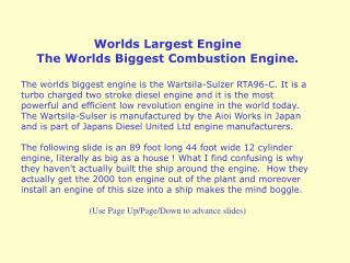 Worlds Largest Engine The Worlds Biggest Combustion Engine.