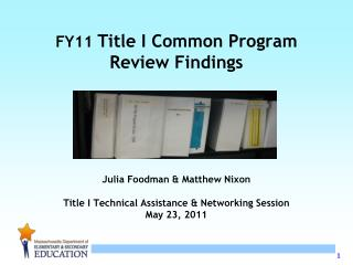 Title I Program Review Monitoring Process