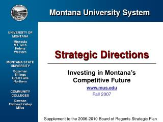 Investing in Montana's Competitive Future mus Fall 2007