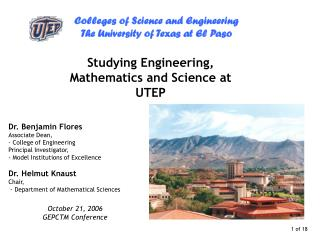 Studying Engineering, Mathematics and Science at UTEP