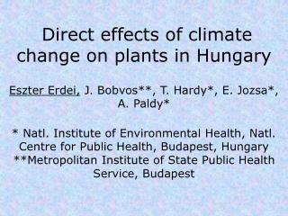 Direct effects  of climate change on plants in Hungary