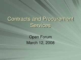 Contracts and Procurement Services